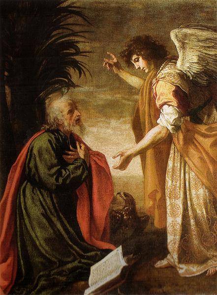 John worshiping the angel