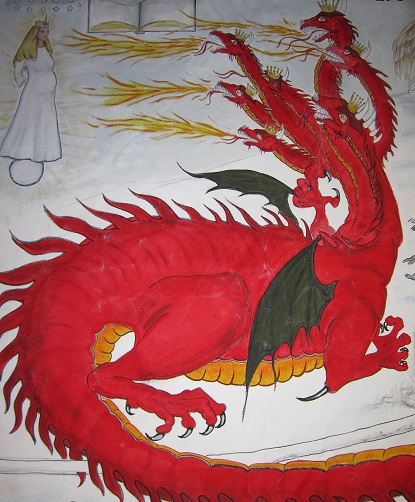 Red Dragon Fighting the Woman
