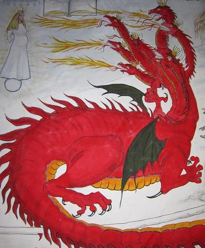लाल ड्रैगन महिला से लड़ रहा है