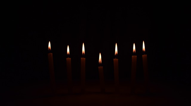 seven candles burning