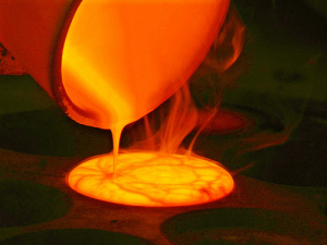 Gold melted by the fire