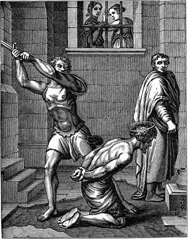 John in prison being beheaded