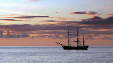 Sailing Ship Over Calm Waters